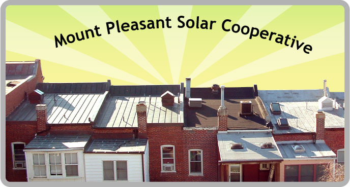 Welcome to the Mt. Pleasant Solar Cooperative - Scene with sunny Mt. Pleasant rooftops and a sun-ray background.